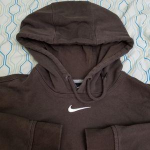 Vintage Nike Center Swoosh Hoodie Brown Logo